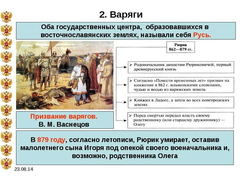* 2. Варяги Оба государственных центра, образовавшихся в восточнославянских з...