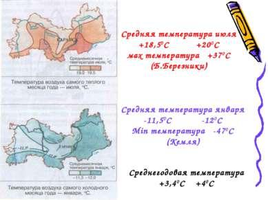 Средняя температура июля +18,50С +200С мax температура +370С (Б.Березники) Ср...