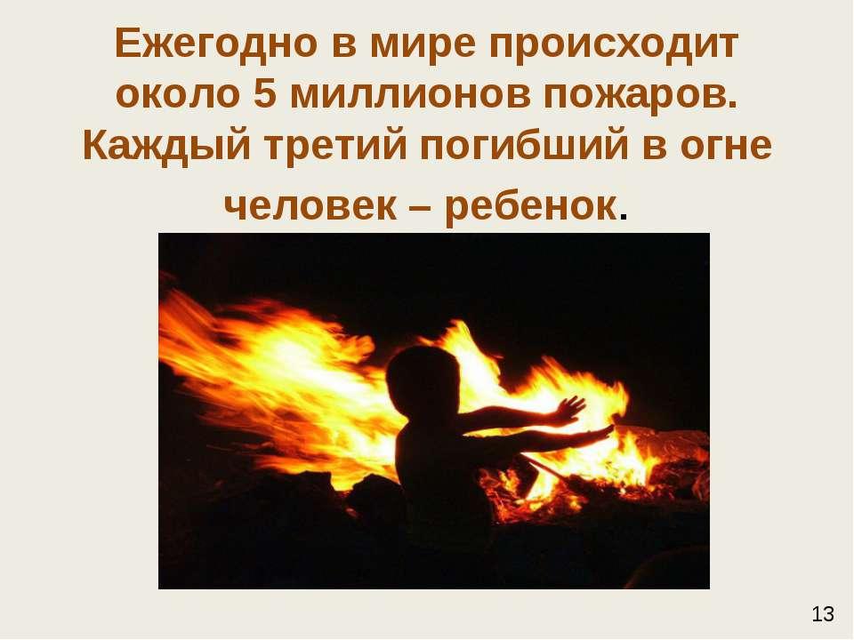 Ежегодно в мире происходит около 5 миллионов пожаров. Каждый третий погибший ...