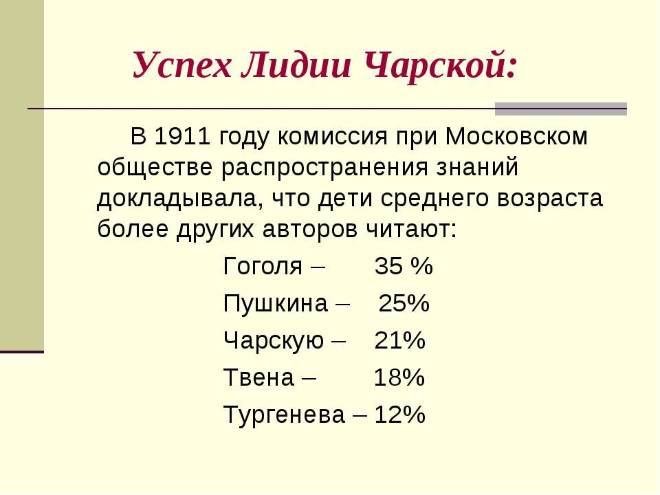 Успех Лидии Чарской: В 1911 году комиссия при Московском обществе распростран...