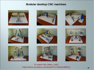 * Modular desktop CNC machines To watch the video, visit: http://www.youtube....
