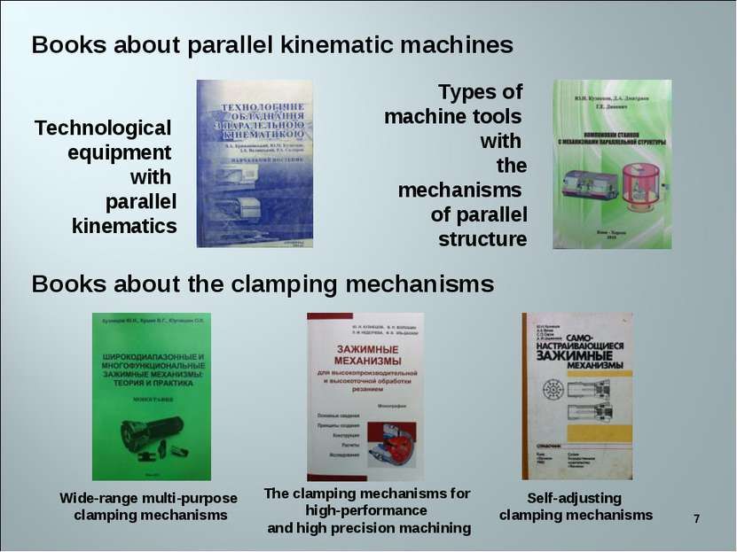 * Books about parallel kinematic machines Books about the clamping mechanisms...