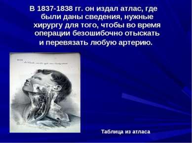 В 1837-1838 гг. он издал атлас, где были даны сведения, нужные хирургу для то...