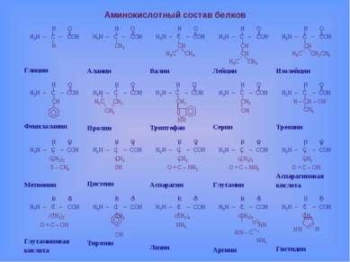 Аминокислотный состав белков Н O Н2N – C – COH H Глицин Н O Н2N – C – COH СH3...