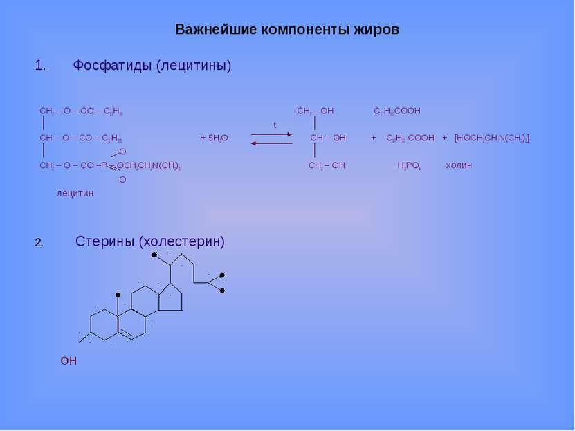 Важнейшие компоненты жиров Фосфатиды (лецитины) CH2 – O – CO – С17Н35 CH2 – O...