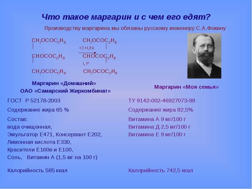 Что такое маргарин и с чем его едят? Производству маргарина мы обязаны русско...