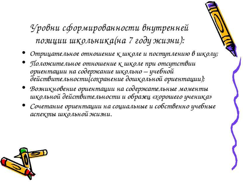 Уровни сформированности внутренней позиции школьника(на 7 году жизни): Отрица...