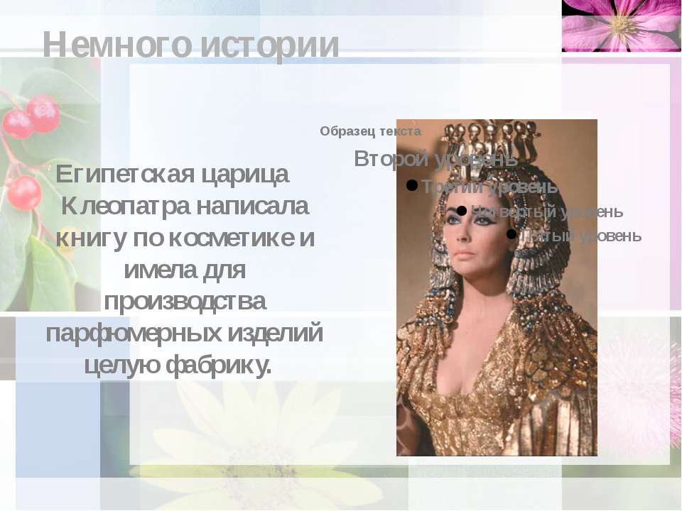 Немного истории Египетская царица Клеопатра написала книгу по косметике и име...