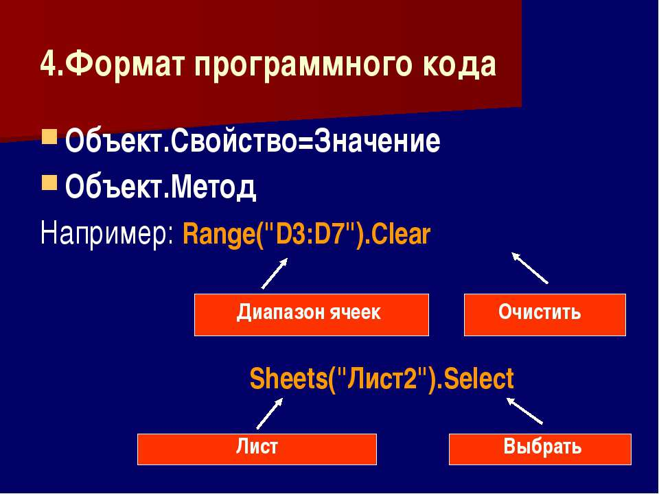 4.Формат программного кода Объект.Свойство=Значение Объект.Метод Например: Ra...
