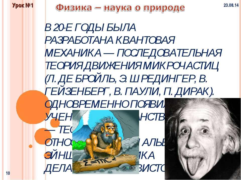 * * Физика и методы научного познания Урок №1 В 20-Е ГОДЫ БЫЛА РАЗРАБОТАНАКВ...