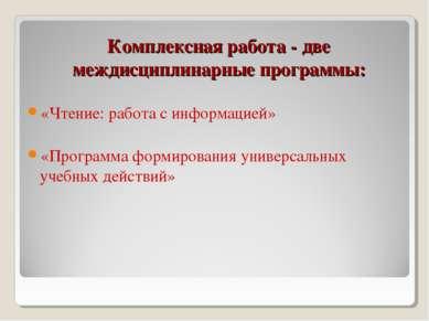 Комплексная работа - две междисциплинарные программы: «Чтение: работа с инфор...