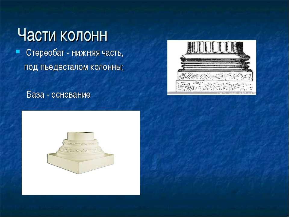 Части колонн Стереобат- нижняя часть, под пьедесталомколонны; База- основание