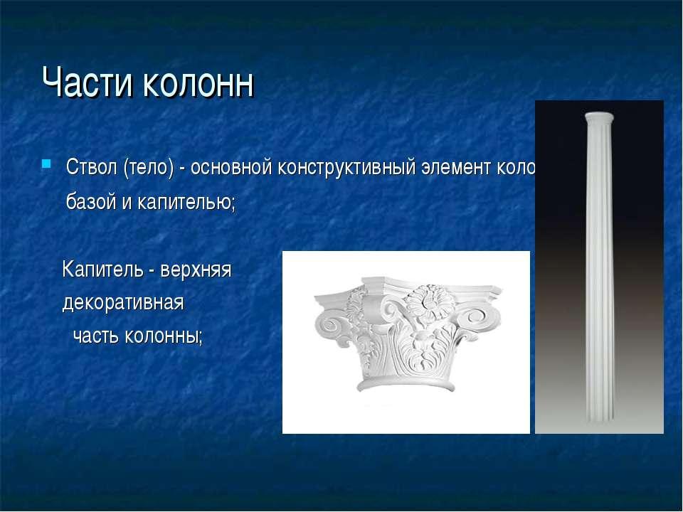 Части колонн Ствол (тело)- основной конструктивный элементколонны между баз...