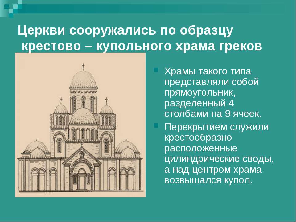 Церкви сооружались по образцу крестово – купольного храма греков Храмы такого...