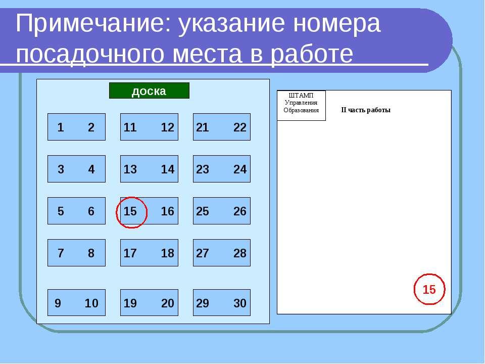 доска 15 Примечание: указание номера посадочного места в работе