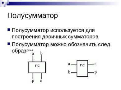 Полусумматор Полусумматор используется для построения двоичных сумматоров. По...