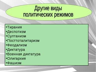 Тирания Деспотизм Султанизм Посттоталитаризм Феодализм Диктатура Военная дикт...