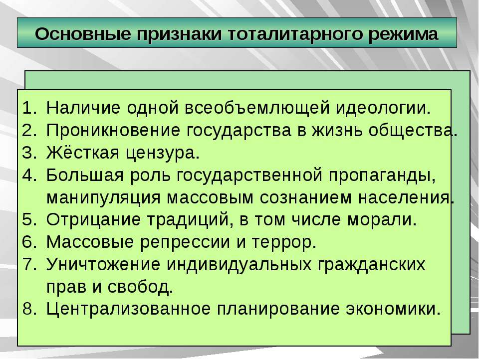 Основные признаки тоталитарного режима Наличие одной всеобъемлющей идеологии....