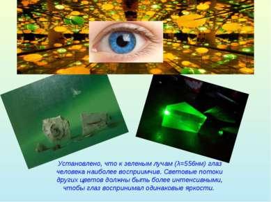 Установлено, что к зеленым лучам (λ=556нм) глаз человека наиболее восприимчив...