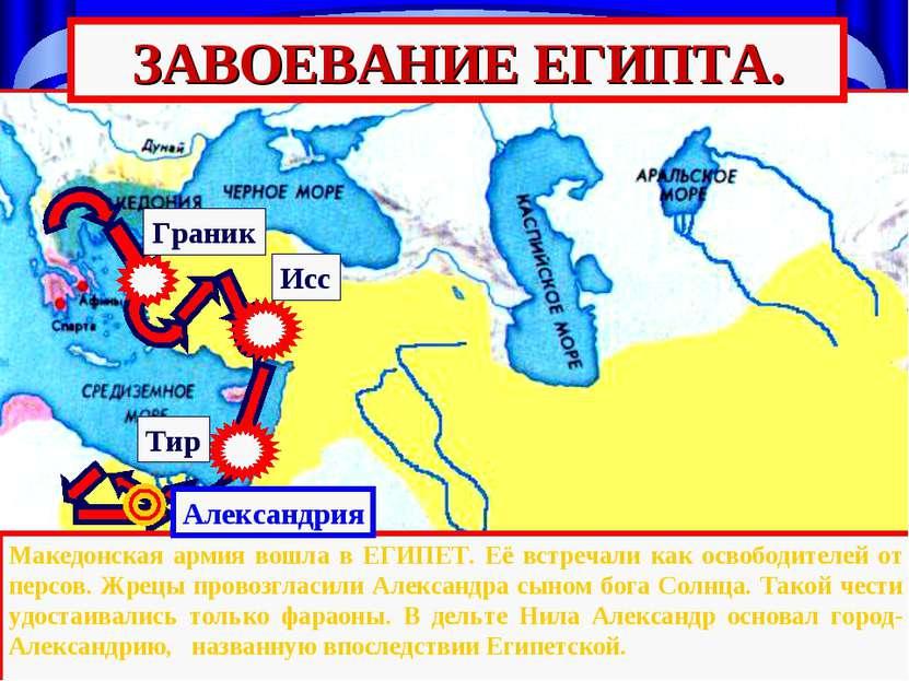 Тир Исс Граник ЗАВОЕВАНИЕ ЕГИПТА. Македонская армия вошла в ЕГИПЕТ. Её встреч...