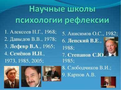 1. Алексеев Н.Г., 1968; 2. Давыдов В.В., 1978; 3. Лефевр В.А., 1965; 4. Семён...
