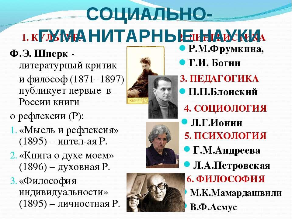 П.П.Блонский Р.М.Фрумкина, Г.И. Богин 2. ЛИНГВИСТИКА 4. СОЦИОЛОГИЯ 1. КУЛЬТУР...
