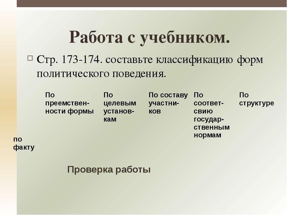 Стр. 173-174. составьте классификацию форм политического поведения. Работа с ...