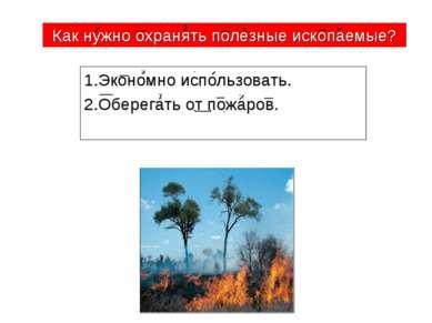 1.Экономно использовать. 2.Оберегать от пожаров. Как нужно охранять полезные ...
