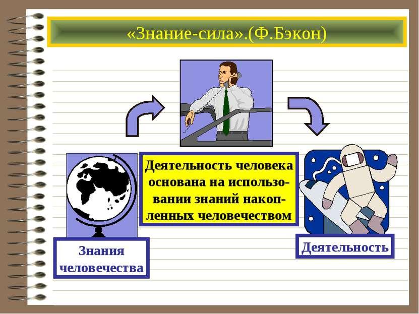 «Знание-сила».(Ф.Бэкон) Деятельность человека основана на использо- вании зна...