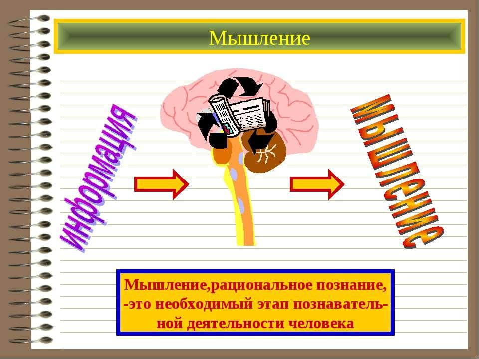 Мышление Мышление,рациональное познание, -это необходимый этап познаватель- н...
