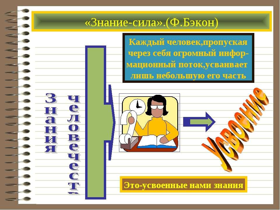 «Знание-сила».(Ф.Бэкон) Каждый человек,пропуская через себя огромный инфор- м...