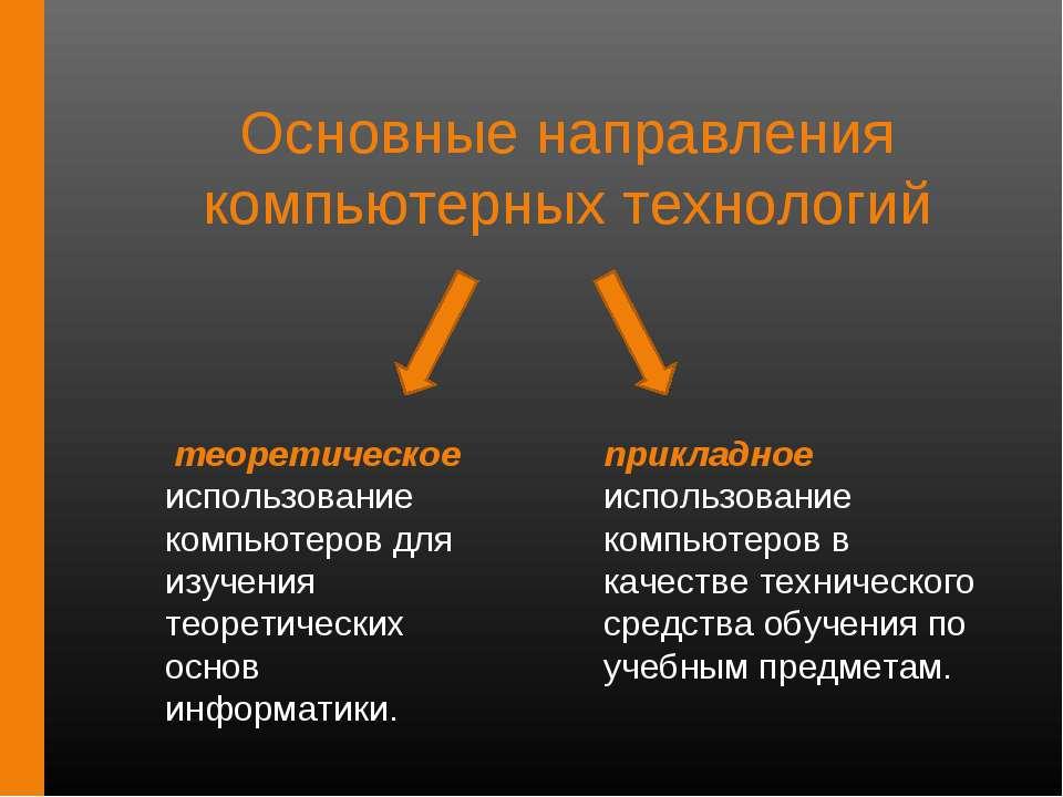 Основные направления компьютерных технологий теоретическое использование комп...