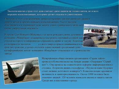 Экологи многих стран этот день считают днем защиты не только китов, но и всех...
