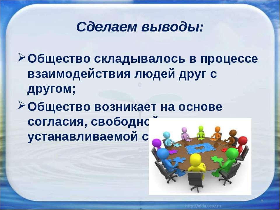 Сделаем выводы: Общество складывалось в процессе взаимодействия людей друг с ...
