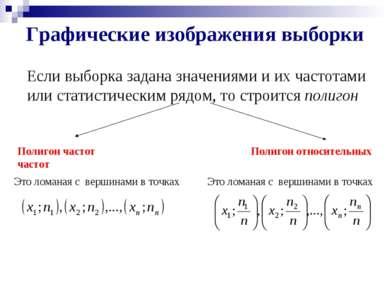 Графические изображения выборки Если выборка задана значениями и их частотами...