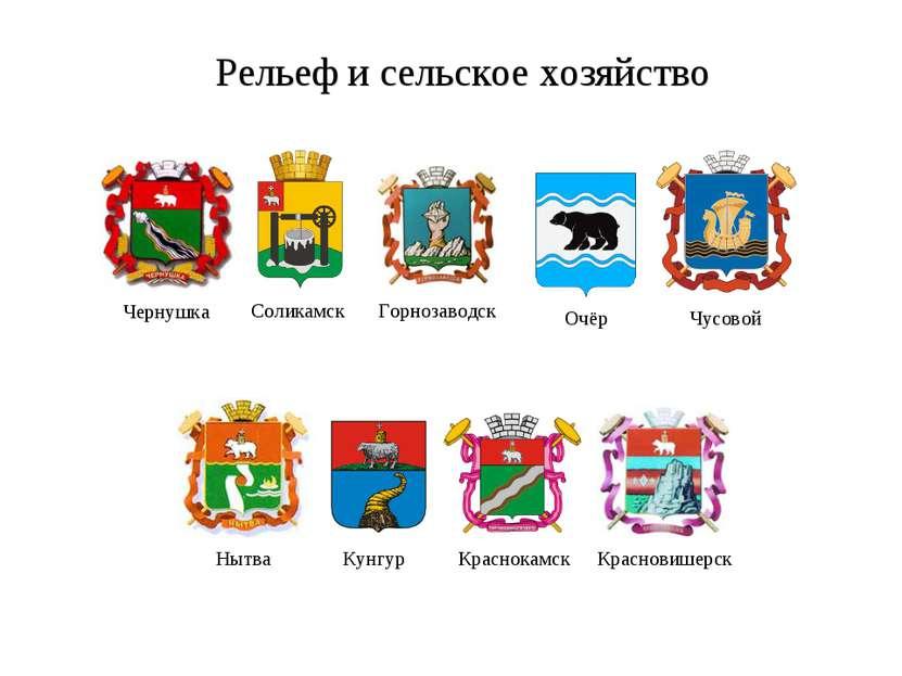 Рельеф и сельское хозяйство Чернушка Горнозаводск Соликамск Очёр Чусовой Нытв...