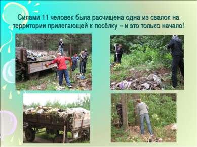 Силами 11 человек была расчищена одна из свалок на территории прилегающей к п...