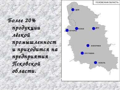 Более 20% продукции лёгкой промышленности приходится на предприятия Псковской...