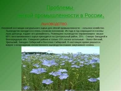 Проблемы лёгкой промышленности в России. ЛЬНОВОДСТВО. Основной поставщик нату...