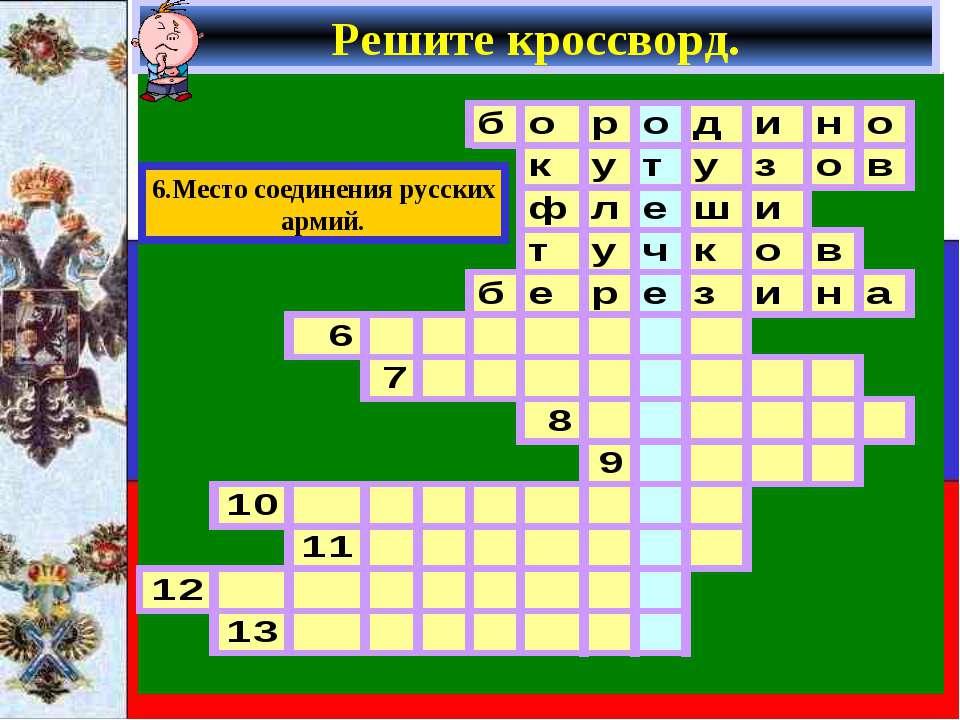 Решите кроссворд. 6.Место соединения русских армий.