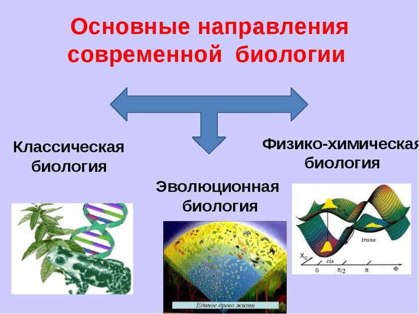 Основные направления современной биологии Классическая биология Эволюционная ...