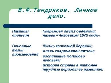 В.Ф.Тендряков. Личное дело.