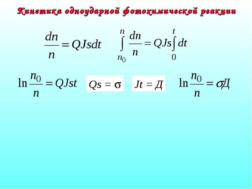 Кинетика одноударной фотохимической реакции Qs = s Jt = Д