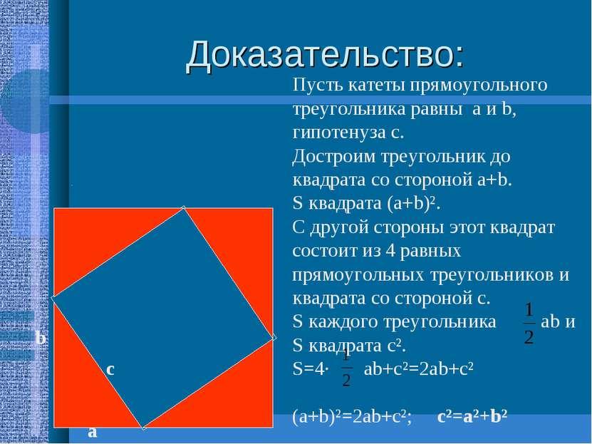 Доказательство: а b с Пусть катеты прямоугольного треугольника равны а и b, г...