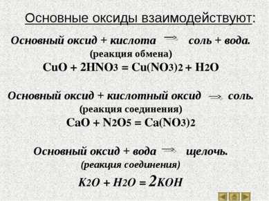 Основный оксид + кислота соль + вода. (реакция обмена) CuO + 2HNO3 = Cu(NO3)2...