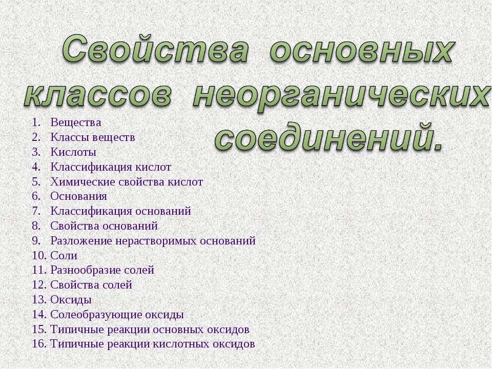 Вещества Классы веществ Кислоты Классификация кислот Химические свойства кисл...