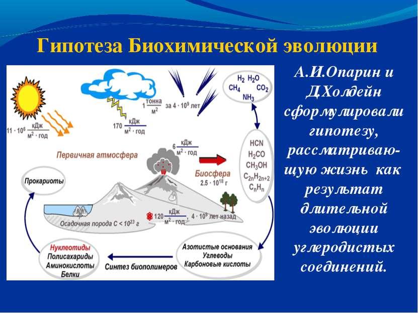 Гипотеза Биохимической эволюции А.И.Опарин и Д.Холдейн сформулировали гипотез...