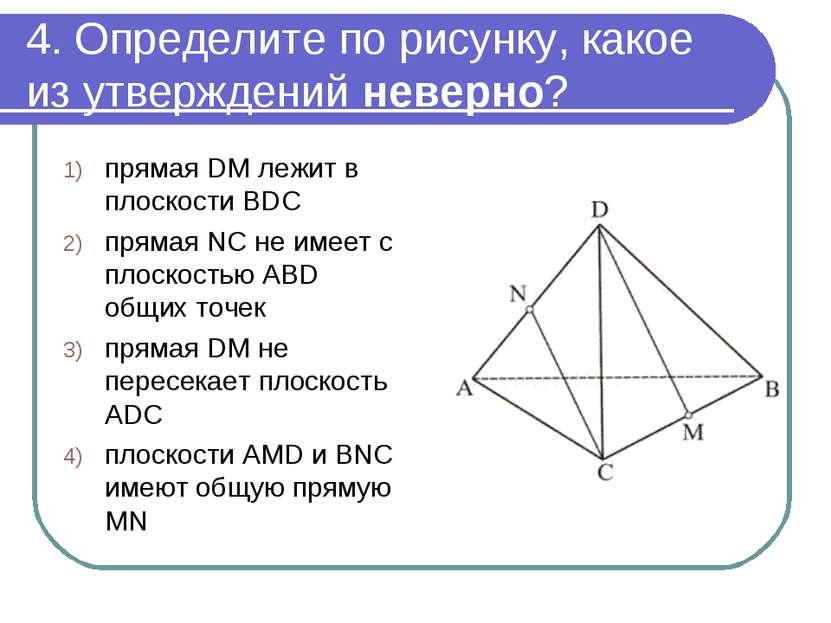 4. Определите по рисунку, какое из утверждений неверно? прямая DM лежит в пло...