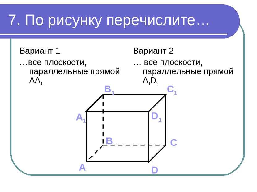 7. По рисунку перечислите… Вариант 1 …все плоскости, параллельные прямой AA1 ...