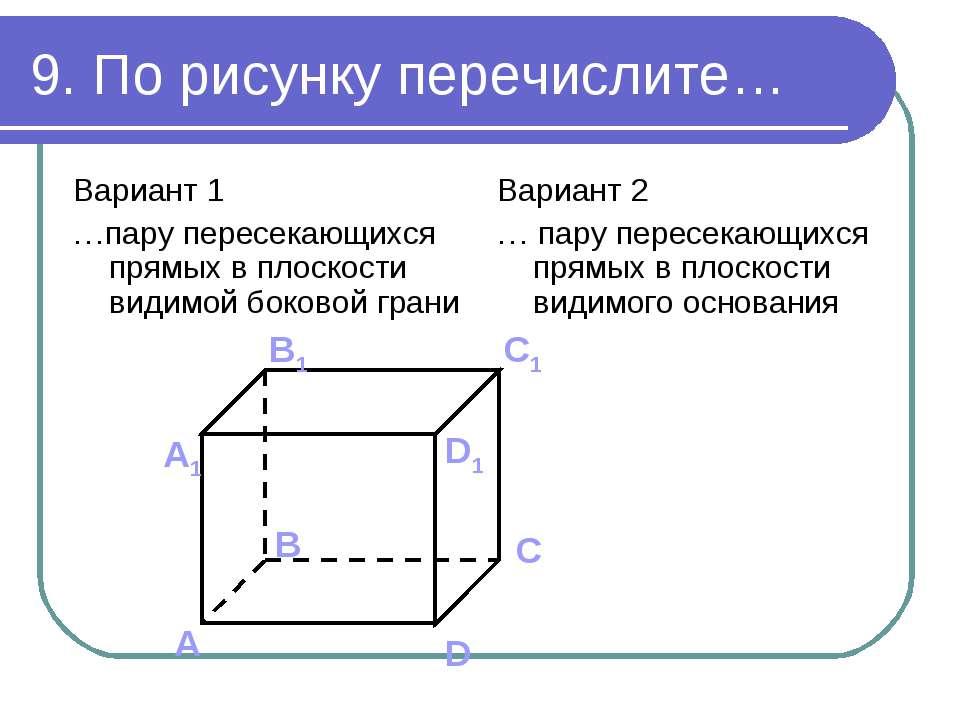 9. По рисунку перечислите… Вариант 1 …пару пересекающихся прямых в плоскости ...